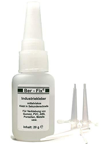 Ber-Fix® 20 g de pegamento industrial espeso, 3 boquillas dosificadoras finas, práctico e innovador, con la aguja en el cierre, versátil, duradero, fiable y de larga duración.