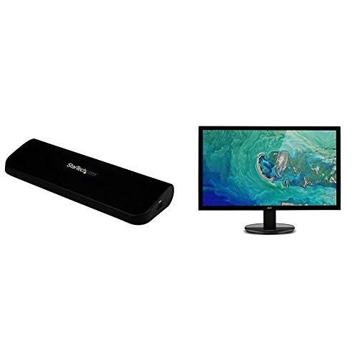 StarTech.com HDMI DVI VGA Dual Video Universal USB 3.0 Docking Station for Laptop, Black & Acer K222HQLbd 21.5 Inch FHD Monitor, Black (TN Panel, 5ms, DVI)