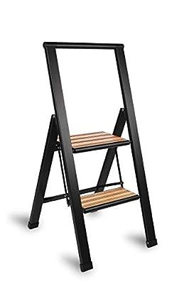 Aluminum/Bamboo Folding 3 Step Ladder, Anti Slip, Sturdy, Slim Design, Heavy Duty, Black