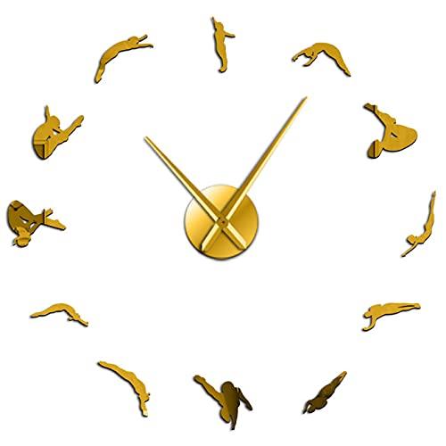 xinxin Reloj de Pared Mujer Moderna Buceo Deporte DIY Reloj de Pared acrílico 3D Reloj de Cuarzo Reloj con Pilas Reloj Efecto Espejo Regalo para Atleta