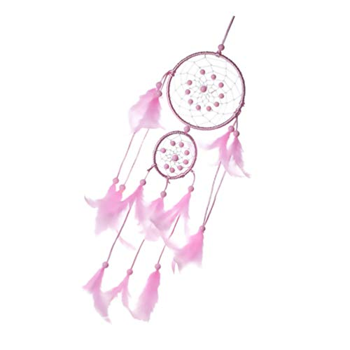 ifundom Atrapasueños de Plumas de Color Rosa Tradicional Hecho a Mano Colgante de Pared Atrapasueños Adorno para Decoración del Dormitorio del Hogar Regalo Artesanal