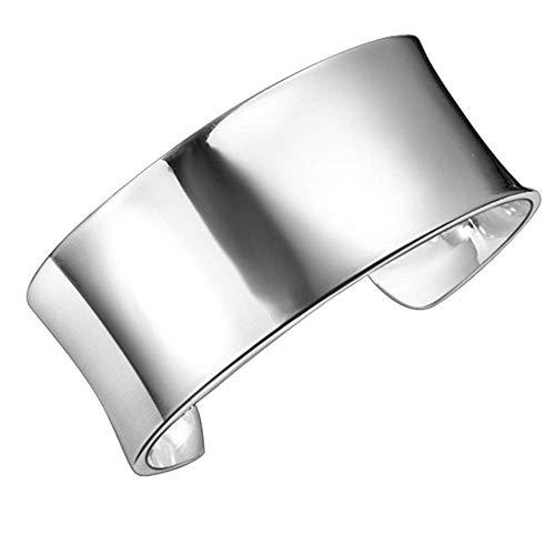 Onefeart Sterling Silber Bangle für Frauen Mädchen Glatt Design Offenes Armband 7x2.8CM Silber