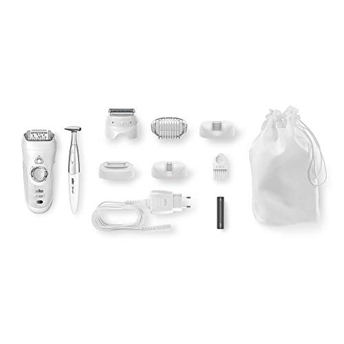 Braun Silk-Epil 7 7-561 Wet and Dry Epilator for Women, Cordless Epilation and Hair Removal with 8 Extras Including Bikini Trimmer (2-Pin UK Bathroom Plug), White