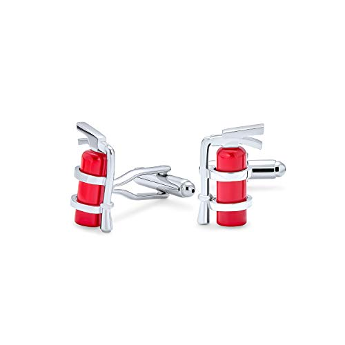 Bling Jewelry Fire Extinguisher Red Enamel Fireman Fighter Shirt Cufflinks for Men Silver Tone Stainless Steel Hinge Bullet Back