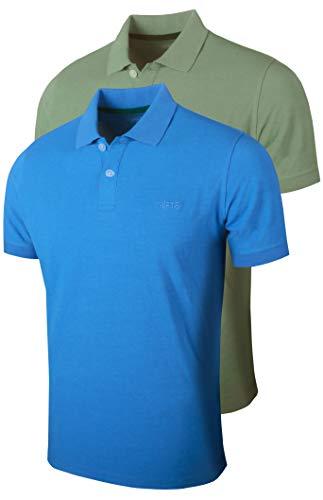 Full Time SPORTS-701 Pack de 2 Hombre Polos Premium de Manga Corta Camiseta (Azul Claro/Verde mar, XXX-Large)