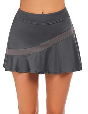 Ekouaer Womens Active Performance Skort Running Skirt with Shorts for Tennis Golf Workout Sports Dark Grey