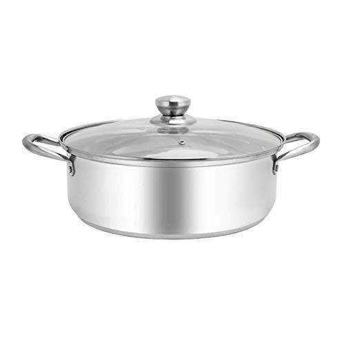 Olla de acero inoxidable/ Crisol de la sopa cacerola de acero inoxidable binaural, 16 de acero inoxidable plato de la cazuela con tapa de cristal y pulido acabado de espejo /Bandeja de gran capacidad