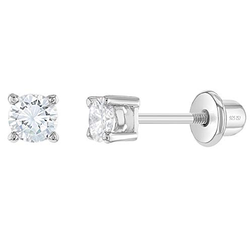 In Season Jewelry - Kleinkind - Halskette Winzig Rund 925 Sterling Silber Klar CZ Zirkonia 3mm