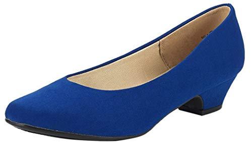 DREAM PAIRS Mila Damen Pumps mit Blockabsatz Schuhe Königsblau Größe 10 M US / 41 EU