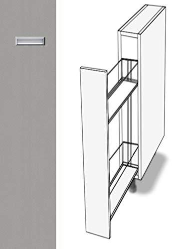 Premium-Ambiente EOE074 Unterschrank Apothekerschrank Vollauszug Softclosing eingelassener Griff EURODEKOR® (Breite 20cm, 05 Aluminium)