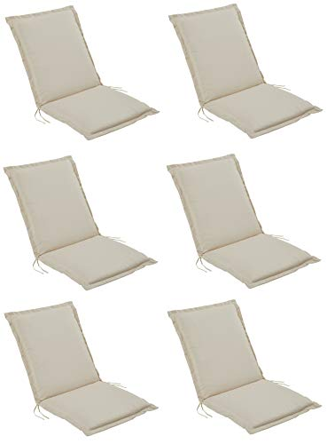 Pure Home & Garden 6er Set Niederlehner Gartenstuhl Auflagen Cream, Made IN Europe, 100 x 50 x 6 cm