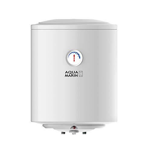 Aquamarin® Scaldabagno Elettrico - Modello ANTICALCARE, da 30,50,80,100 litri, 1500 W, Verticale, con Anodo di Magnesio, Termostato a 75 °C, Serbatoio Smaltato - Scaldacqua, Boiler Elettrico (30 L)