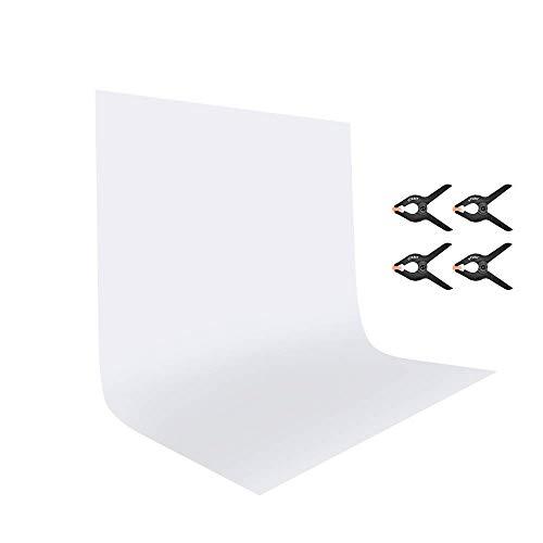 UTEBIT Fondo Blanco de 6 x 9 pies/1,8 x 2,8 m Menos Arrugas Plegable Papel de Fondo de Foto Tela Lavable a máquina para fotografía Fondos Stands Marco cámara vídeo Disparo (no Incluye Soporte)