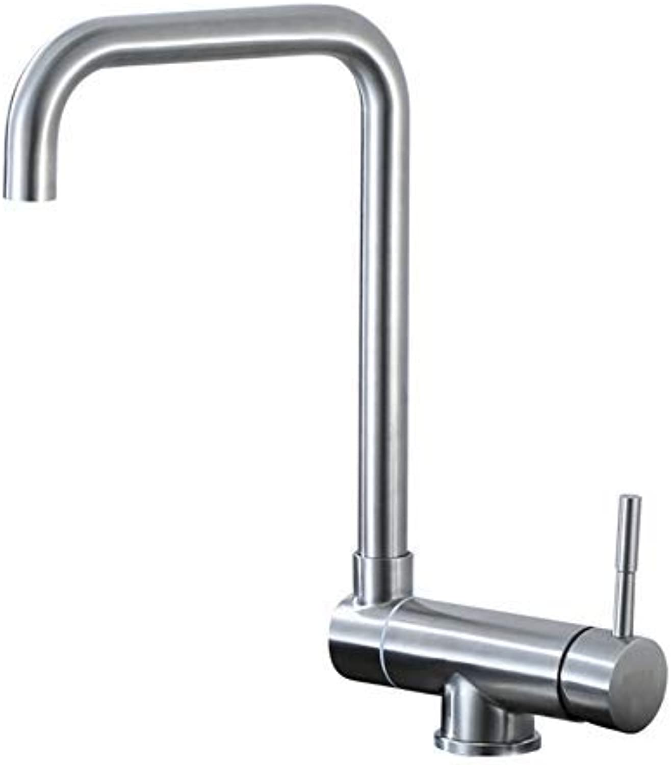 MONFS-Bathroom tap Taps Kitchen Sink Hot And Cold Water Faucet 304 Stainless Steel Brushed Sink Sink Faucet