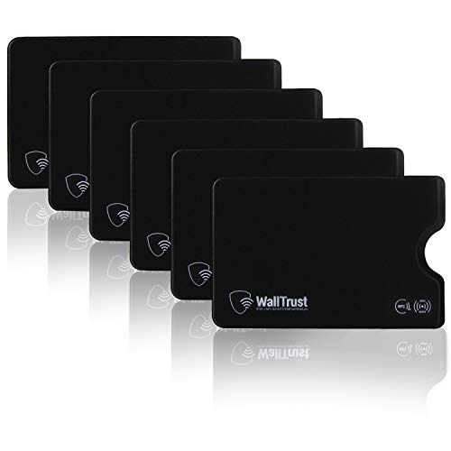 WallTrust RFID Schutzhülle für Kreditkarten, Plastik, TÜV, 6er Set, Schwarz