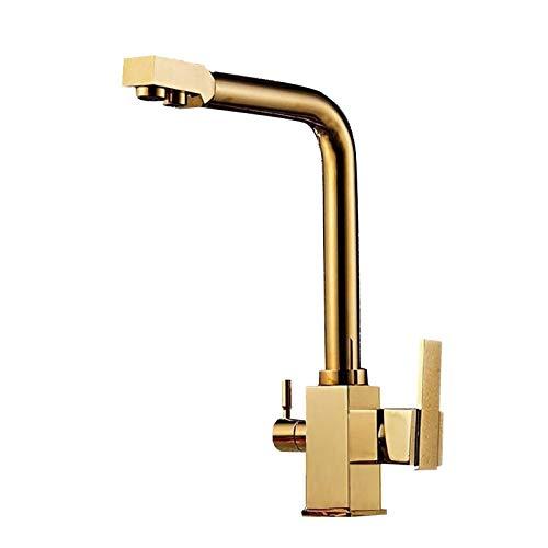 Todo Copper 3 En 1 Contemporary dos manijas 360 ° giratorio de cocina del fregadero grifo, caliente y Control Dual fría, conveniente for la cocina (oro) Fácil de instalar