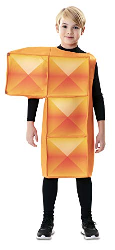 EUROCARNAVALES Disfraz de Tetris Naranja Infantil 7 a 9 años