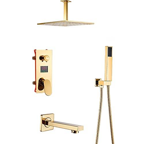 GLYYRLR Sistema de Ducha Oro Pantalla LED Conjunto de Ducha con Caño de Bañera, Latón Monomando Montado en el Techo Columna de Ducha con Alcachofa de Ducha, Ducha de Mano,8 Inch