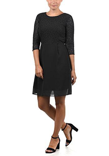 VERO MODA Eve Damen Abendkleid Cocktailkleid Festliches Kleid Mit Rundhals-Ausschnitt Und Spitze Midilänge, Größe:L, Farbe:Black