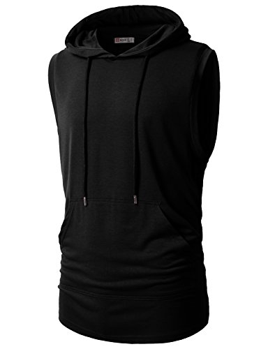 H2H Mens Casual Slim Fit Hooded Tank-top Black US L/Asia XL (CMTTK028)