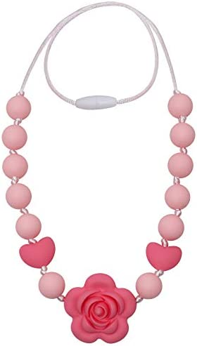 Chew Necklace for Sensory Kids Silicone Chewable Rose Beads Necklace for Girls Autistic ADHD product image