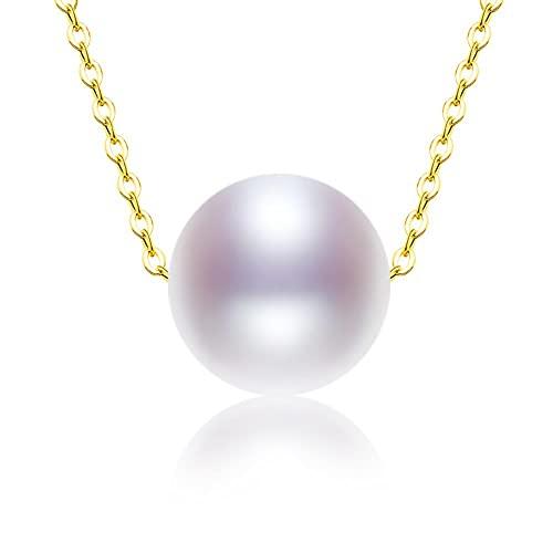 JIUDELE Collar de oro de 18 quilates colgante redondo natural perla de agua dulce AU750 blanco 8-10mm regalo de joyería fina de las mujeres
