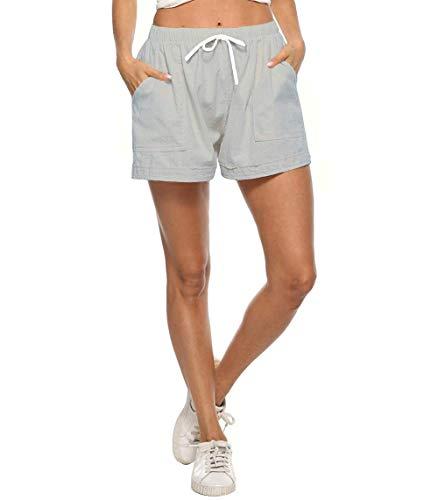 Wureion Women Drawstring Casual Elastic Waist Cotton Linen Shorts with Pockets Grey XL