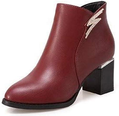 HOESCZS Frauen Schuhe Winter Fashion Dick Mit Martin Stiefel Damen Mit Kurze Stiefel Frauen Stiefel Wild Slim Frauen Schuhe