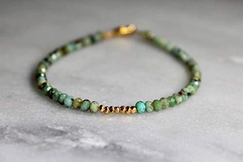 JEWEL BEADS mooie sieraden AAA++ kwaliteit turquoise armband met spirituele betekenis | turquoise kralen armband | eenvoudige Afrikaanse turquoise armband met goud of sterling zilver 3-4mm code- UKA-6050