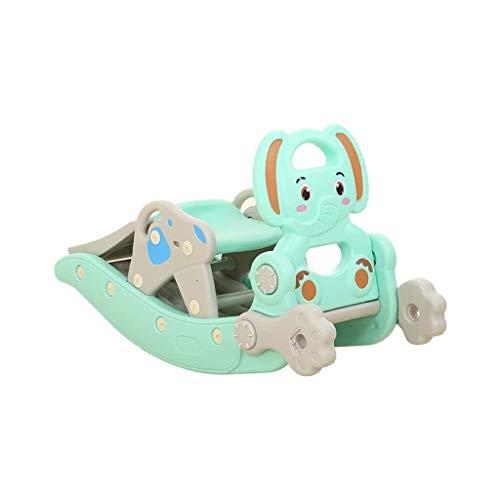 NXYJD Caja de Baloncesto con tobogán de Caballo Mecedora para bebé, combinación de máquina de Aprendizaje de música 4 en 1, Juguetes para el Patio de recreo para bebés de Interior para niños