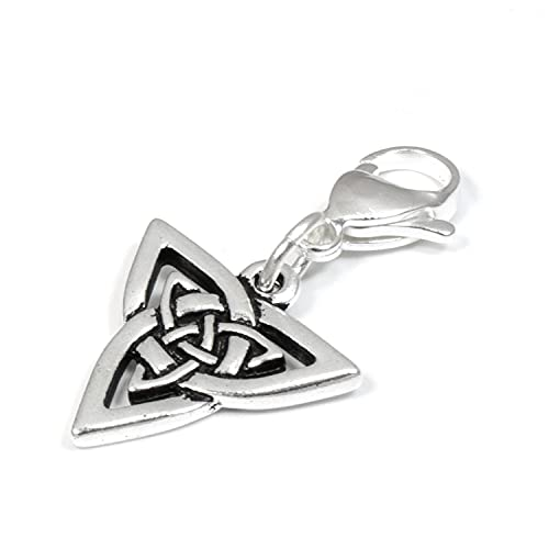 Silver Celtic Triangle Knot Zipper Pull, Clip on Purse Charm with Lobster Clasp