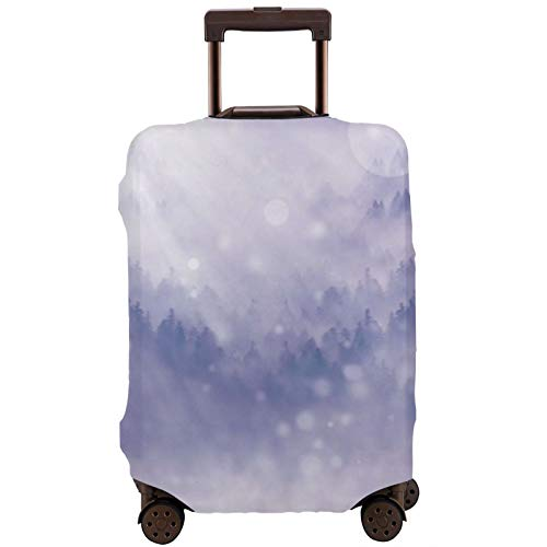 Winter Snow Landscape Trees Travel Luggage Cover,18/24/28/32 Inch Suitcase Protective Cover (Without Suitcase) Elastic Stretch DustproofXL