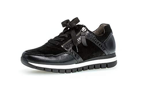 Gabor Damen Sneaker, Frauen Low-Top Sneaker,Comfort-Mehrweite,Reißverschluss,Optifit- Wechselfußbett, Turnschuhe Laufschuhe,schwarz,39 EU / 6 UK