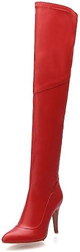 XZZ  Chaussures Femme - Habillé Habillé   Soirée & EvéneHommest - Noir   Rouge - Talon Aiguille - Bout Pointu   Bottes à la Mode - Bottes - Similicuir  produits créatifs