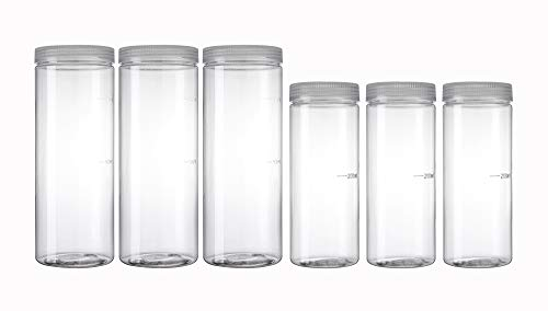 Silicook Clear Plastic Jar, Set of 6-32oz & 11oz, Round Shaped, Transparent, Food Storage Container, Kitchen & Household Organization for Dry goods, Pasta, Spices and More