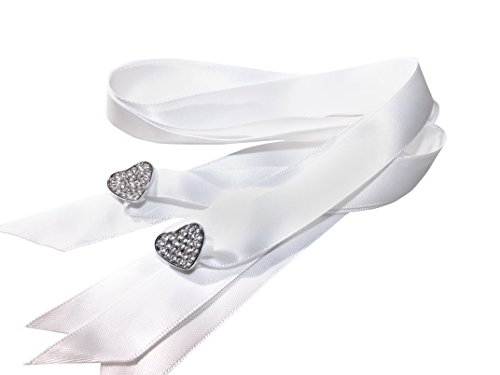 Stunning Crystal Full Heart Shoe/Trainer Charms with a FREE Pair of Our White Satin Ribbon Laces (Women's Fits Shoe Size 3 to 8)