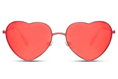 Cheapass Gafas de Sol Metálicas Forma de Corazón Montura Roja con Cristales Rojos Cristales Translúcidos protección UV400 Mujeres