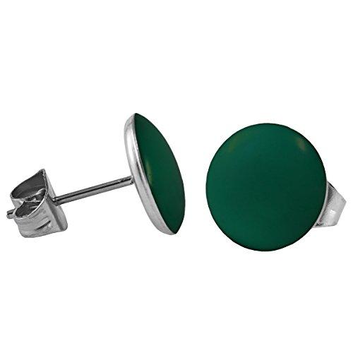 Mein-Ohrstecker Chirurgenstahl Emaille Ohrringe Edelstahl Farbe Grün, Größe 10 mm