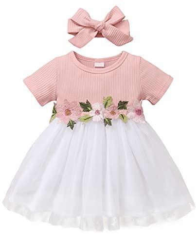 Amissz Kleider für Baby Mädchen 6 Monate-3 Jahre Bestickt Tüll Blume Prinzessin Kinder Kurzarm Kleid für Hochzeit Geburtstag Party