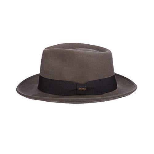 Scala Classico Men's Crushable Water Repelant Wool Felt Fedora Hat, Grey, X-Large