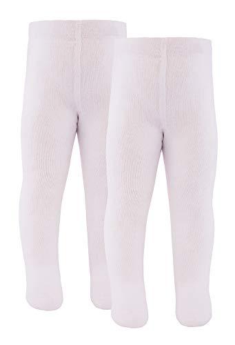 Ewers Baby- & Kinderstrumpfhose für Mädchen & Jungen 2er Pack, Made in Europe, Strumpfhose 98prozent Baumwolle Uni Basic Doppelpack,Weiß,98-104