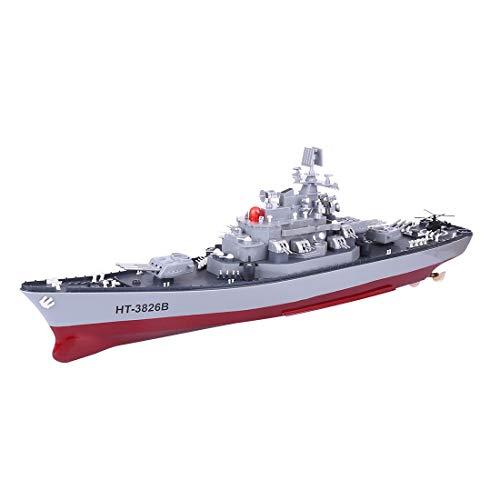 Lommer Ferngesteuertes Kriegsschiff, 58cm 1:250 XXL RC Ferngesteuertes Schlachtschiff 4CH 6KM/h Schiff Spielzeug für Kinder und Erwachsene