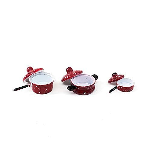 witgift Puppenhaus Zubehör Miniatur Metall Kochgeschirr Pfanne Topf Set Mini Ornament Küche Haus Garten Möbel Deko