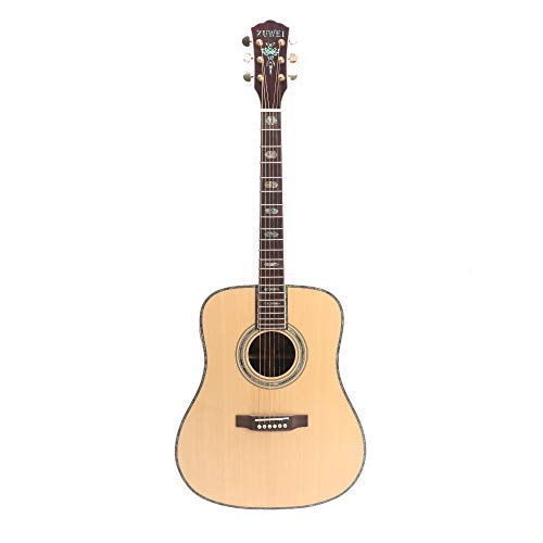 ZUWEI 41in Handmade Acoustic Guitar Solid Spruce Top, Rosewood Back&side Abalone Inlay, Grover Tuner 20F Frets Ebony Fingerboard Lower Action Bone Nut& Saddle Free Hardcase Gloss Finish
