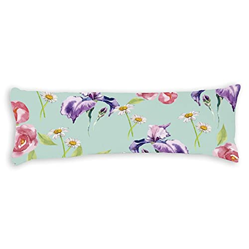 CiCiDi Side Sleeper Pillow Cover 50x137 cm Exclusive Kaufman Wishwell Lawns Daisies Mint Breathable Cushion Covers with Zip Cotton and Polyester