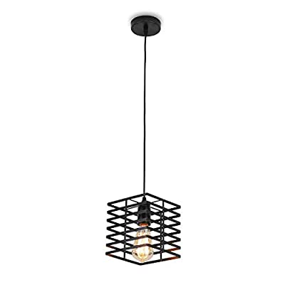 EGOBOO Black Cage Cube Geometric Pendant Light with Metal Shade Modern Industrial Edison Style Hanging for Kitchen Island,Close to Ceiling Lights