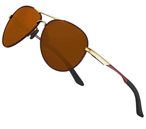 Perfectmiaoxuan Gafas de sol polarizadas hombre mujer retro gafas de sol masculino deportes al aire libre golf ciclismo pesca senderismo gafas de sol, Marrón (efecto espejo).,