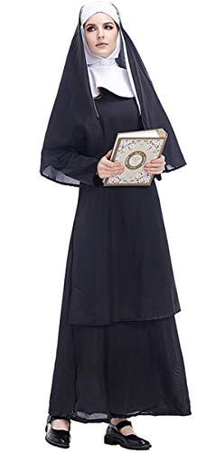 LCXYYY Damen Nonnen Kostüm Kleid und Kopfbedeckung Halloween Costume Damen Zombie Geist Karneval Schwarz XL