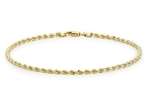 Carissima Gold Unisex 9 ct Yellow Gold Hollow 2 mm Diamond Cut Rope Chain Anklet of Length 25.5 cm/10 Inch