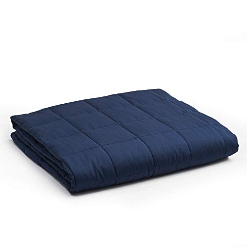 YnM Weighted Blanket — Heavy 100% Oeko-Tex Certified Cotton Material with Premium Glass Beads (Navy, 48''x72'' 20lbs), Suit for One Person(~190lb) Use on Twin/Full Bed